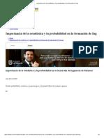 Importancia de la estadística y la probabilidad en la formación de Ing