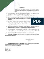 Affidavit of Declaration of Job and Income