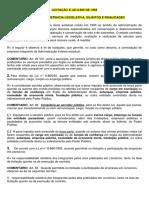 LICITAÇÃO E LEI 8.666_CONCEITO, COMPETENCIA LEGISLATIVA, SUJEITOS E FINALIDADES