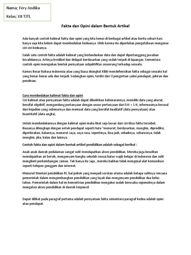 Fakta Dan Opini Dalam Bentuk Artikel Docx
