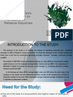 A Study on EBIT-EPS Analysis  and Its Impact on  Profitability of  Reliance Industries