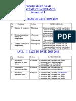 ORAR BAZE DE DATE anii I si II sem I 2009  2010