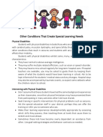 Other Conditions That Create Special Learning Needs