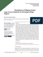 Aspiration and Readiness of Filipino Senior High S
