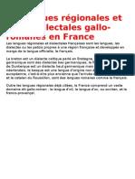 les langues régionales et aires dialectales gallo