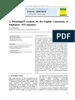 Phonological Analysis of Sundanese EFL SPEAKERS
