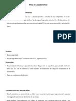 TIPOS DE LOCOMOTORAS