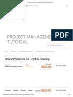 Oracle Primavera P6 Training- Basic to Ultra advance Topics
