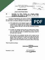 Labor Advisory - Nov 16, 2010