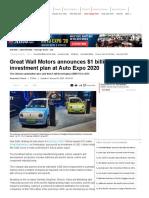 Great Wall Motor at Auto Expo_ Great Wall Motors announces $1 billion