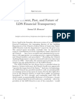 """""""The Present, Past, and Future of LDS Financial Transparency"""" by Samuel D. Brunson"""