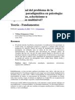 Estado actual del problema de la unificación paradigmática en psicología