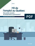Bilan 2019 de l'emploi au Québec