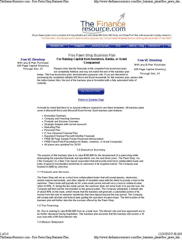 pawnshop business plan