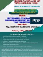 MAESTRIA EN INGENIERIA CIVIL DISTRIBUCION DE FRECUENCIAS