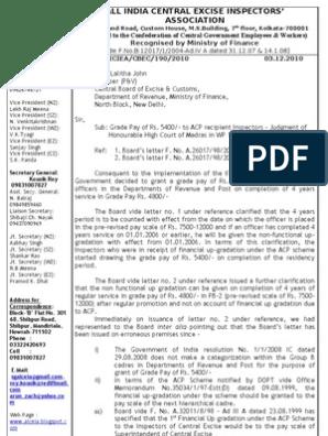 Latest Representation on Rs 5400 Grade Pay   Government   Politics