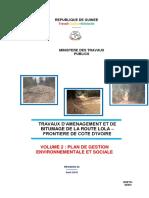 Guinee-Projet de route Lola Frontiere-PGES
