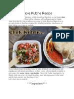Chole Kulche Recipe