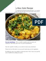 Dry Aloo Gobi Recipe