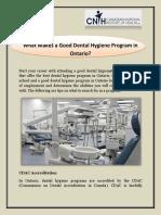 What Makes a Good Dental Hygiene Program in Ontario | CNIH