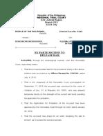 Ex Parte Motion to Release Cash Bail