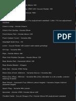 Rusi Gremlin  Mojo  Korak Parts List