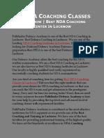 Best NDA Coaching Classes in Lucknow & Best NDA Coaching Center in Lucknow