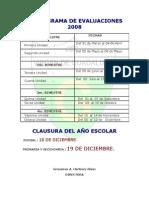 CRONOGRAMA DE EVALUACIONES 2008