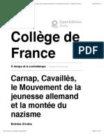 Carnap, Cavaillès, le Mouvement de la jeunesse allemand et la montée du nazisme