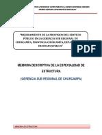 MEMORIA DE ESTRUCTURA GERENCIA CHURCAMPA