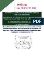 Avisos # 5 Febrero 2020