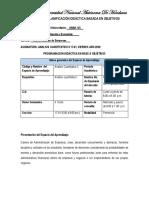 Programación Didáctica  en base a objetivos   Analisis cuantitativos II, primer  periodo 2020, SECCION 17.01, sabado