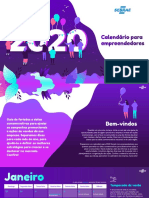 Calendário Empreendedores - Sebrae 2020