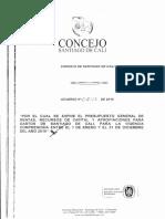Acuerdo No. 453 de 2018 presupuesto 2019