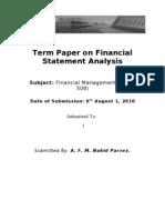 FM Term Paper on Financial Statement Analysis
