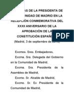 Esperanza Aguirre en el 32 Aniversario de la Constitución Española