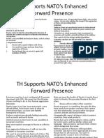TH Supports NATO's Enhanced Forward Presence