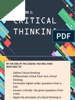 LESSON 1 CRITICAL-THINKING
