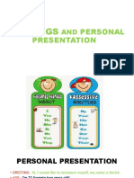 GREETINGS AND PERSONAL PRESENTATION A1 KIDS