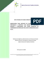Orientações técnicas Anvisa - NOTA TÉCNICA Nº 04/2020