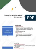 Managing the Organizational Environment