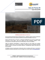 SENAMHI -Nota de Prensa 08 Pronostico de lluvias en la sierra sur