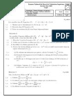 Examen National du BTS _ Pôle mécanique _ Session de Mai 2019
