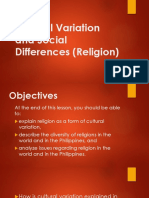 4. Cultural Variation and Social Differences (Religion)