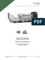 FICHA TÉCNICA GRUPO ELECTRÓGENO CATERPILLAR  3516 PKG SERVICIO DE EMERGENCIA 2000 kVA @ 1500 RPM