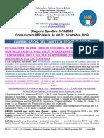 Comunicato Ufficiale n. 34 del 21 novembre 2019