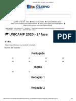 UNICAMP 2020 - 2ª fase - Curso Objetivo_Q4