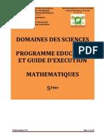 Programme éducatif maths 5è 2020