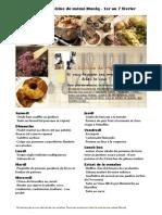 menu de la cuisine de meme moniq 1 au 7 février