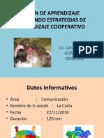 SESIÓN DE APRENDIZAJE ESTRATEGIAS DE APRENDIZAJE COOPERATIVO DIAPOSITIVAS